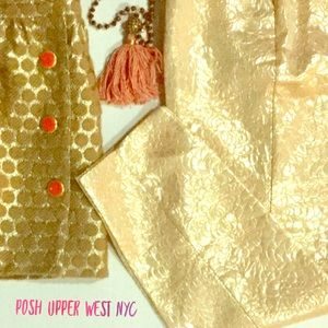Sparkle Bright!! Gold and Coral Cropped Trouser